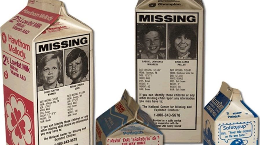 Picture of milk-cartons with missing children pictures and information